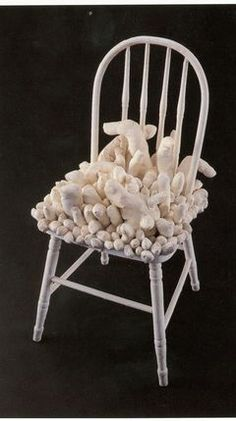 Yayoi Kusama great 3d textile art sculpture in chair art installation japanese artist