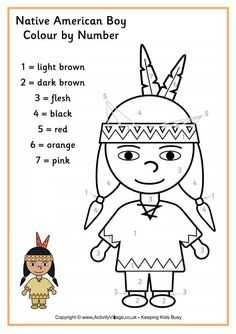 Here's a cute Native American boy coloring page, just one of a set of Thanksgiving coloring pages for younger kids at Activity Village. Free Thanksgiving Coloring Pages, Thanksgiving Worksheets, Fall Preschool, Thanksgiving Crafts For Kids, Preschool Activities, Kids Crafts, Kindergarten Thanksgiving, Preschool Teachers, Native American Children