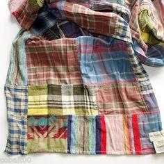 """Ralph-Lauren-Denim-Supply-Cotton-Patchwork-Scarf-18"""" X 73"""""""