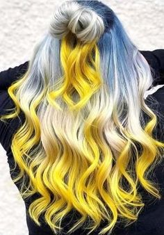 What do you say we give to your blond hair a different look? You do not want to add colorful touches to your blond hair? Colored hair increases its. Yellow Hair Color, Hair Dye Colors, Ombre Hair Color, Cool Hair Color, Blue Yellow, Blonde Ombre, Hair Color For Women, Trendy Hairstyles, Wedding Hairstyles