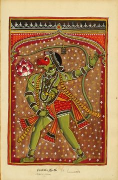 """Hanuman (ape-man), the son of Vayu (air element) is a perfect brahmachari (one who made the vow of celibacy in his search for the absolute, Brahma). """"Indian Deities,"""" 2 albums 195 illus. S.Andhra Pradesh (north of Madras), bordering Karnataka, c.1720-1730. Some texts refer to him as a reincarnation of Shiva."""