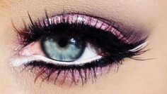 Pink Eyeshadow with Black & White Eyeliner