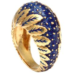 Super Chic Blue Enamel Ring | From a unique collection of vintage band rings at http://www.1stdibs.com/jewelry/rings/band-rings/