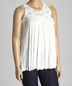 Another great find on #zulily! White Crochet Yoke Tank - Plus by Pat Rego #zulilyfinds