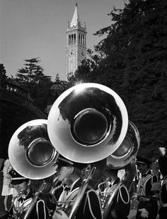 The Cal Band's horns glisten in Ansel Adams' black-and-white shot of a pregame parade in 1966. Photo: Ansel Adams, Bancroft Library / SF