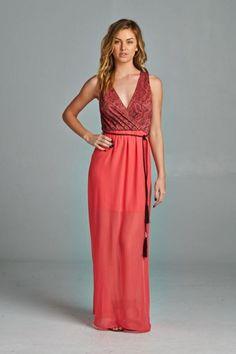 V-Neck Paisley Maxi Dress - Coral