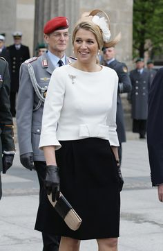 Princess Maxima Photos Photos - Princess Maxima of the Netherlands smiles on her departure of the Neue Wache war memorial on April 12, 2011 in Berlin, Germany. The Dutch royals are on a four-day visit to Germany that includes stops in Berlin, Dresden and Duesseldorf. - HRH Queen Beatrix Of The Netherlands And Crown Prince Couple Willem Alexander And Maxima On Germany Visit - Day 1