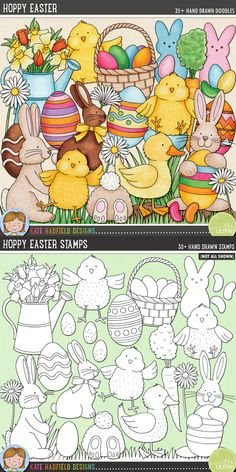Easter digital scrapbooking elements | Cute Easter egg hunt clip art | Hand-drawn clip art and line art for digital scrapbooking, crafting and teaching resources from Kate Hadfield Designs!