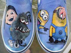 Despicable Me 2  Agnes Minions Gru's Dog Kyle Custom Painted Toms Vans Shoes on Etsy, $119.00