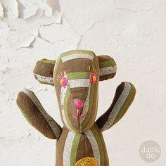 Organic upcycled cotton teddy bear khaki with green by dadisdo, $40.00