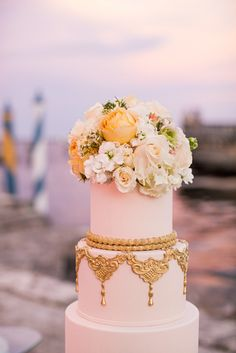 """Marie Antoinette Wedding Cake. Unique Table Decor. ocean view reception. clear tent, vintage florals, tall candles. wedding portraits. Professional Wedding Photos Miami, Florida Vizcaya Museum and Garden Wedding, Photos by PS Photography, Claire Pettibone dress """"Midnight,"""" Navy Blue, Slate Blue Tuxes, Vintage Chic Gatsby Style Wedding in April, Ryan and Jordan Nettleship, details on SkinnyGirlStandard Blog"""