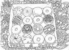 donuts doughnuts adult coloring page gift wall art by Kawanish Davlin Publishing Donut Coloring Page, Food Coloring Pages, Mandala Coloring Pages, Printable Coloring Pages, Coloring Sheets, Coloring Books, Free Adult Coloring, Coloring Pages For Kids, Doodle Art
