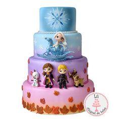Frozen Birthday Party, Carnival Birthday Parties, Themed Birthday Cakes, Birthday Cake Girls, Frozen Party, Anna Frozen Cake, Bolo Frozen, Bolo Elsa, Pastel Frozen