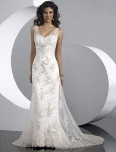 A-Line V-neck Embroidery Chapel Train Lace Wedding Dresses For Brides(SZ003023) - FabDress.com
