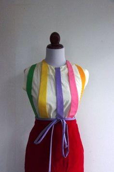 SALE Vintage 1950s Rainbow Panel Blouse by RetroKittenVintage,