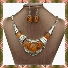 *CHIC FAUX AMBER GEM NECKLACE & EARRING SET Great for November birthdays.  A stunning silver alloy metal with faux amber gems and earrings that match. It is a solid piece. Jewelry Necklaces