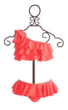To The 9's  One Shoulder Bikini Neon Orange $39.75