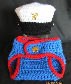 80f5773a0a0 Marine Corps Dress Blues Baby Hat Diaper Cover Military Newborn Photo Prop  Marine Corps Dress Blues