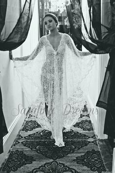 Exclusive Embroidered French Lace Bridal Robe by SarafinaDreams