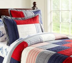 Sean Quilted Bedding #PotteryBarnKids  Jackson's New Big Boy Room Bedding! @Patti Bayer and @Christina Kelly