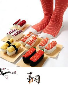 Nouveau mode creative Harajuku Japonais sushi motif calcetines de longues chaussettes pour hommes et Femmes