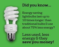 Energy savings tip! Checkout CFL Bulb options to save BIG on your energy bill! #earth #environment #green #energy #efficient