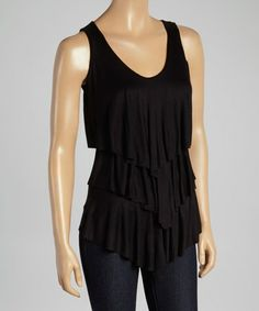 Another great find on #zulily! Black Tiered V-Neck Tank #zulilyfinds