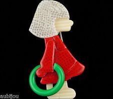 LEA STEIN RED DRESS GIRL GREEN HOOP KID CHILD BROOCH PIN FRENCH RESIN PARIS