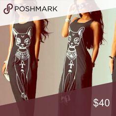 Killstar blackcraft inspired maxi dress sphynx cat Size L Dresses Maxi