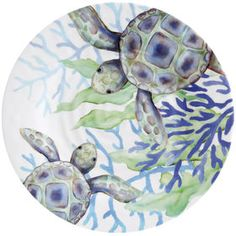 Make your kitchen and dining experience great with the COASTAL MELAMINE DINNER PLATE. You can purchase this, and find other affordable Outdoor Dinnerware, at your local At Home store. Pottery Painting Designs, Pottery Designs, Paint Designs, China Patterns, Craft Patterns, Coral Painting, Decoupage Plates, Pattern Illustration, Ceramic Painting