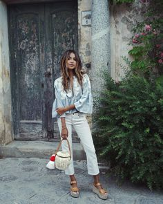 """JULIE SARIÑANA on Instagram: """"Exploring cute little Ravello in @shop_sincerelyjules 'Leah' cropped jeans ! / shopsincerelyjules.com"""""""