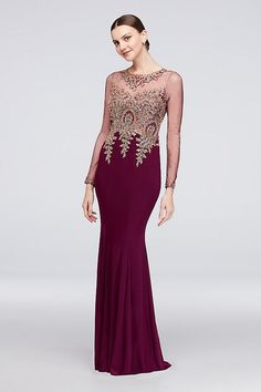 b01854bb1cc Corded Lace Illusion Long Sleeve Jersey Gown