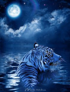 Moonlit Destiny by Christian Riese Lassen mural at Magic Murals. Tiger Wallpaper, Cute Wallpaper Backgrounds, Beautiful Cats, Animals Beautiful, Cute Animals, Wild Animals, Big Cats Art, Cat Art, Tiger Pictures
