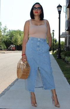 Add a denim maxi skirt to your collection with my Zara and Christian Louboutin Spikko 100 studded pumps. Curvy Outfits, Plus Size Outfits, Trendy Outfits, Summer Outfits, Fashion Outfits, Trendy Clothing, Size Clothing, Grey Fashion, Autumn Fashion