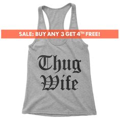 Thug Wife racerback tank top, Ladies, thug life, mom life tank top, Cute Gift For Wife, Gift For Mom, cute gym tank, workout tank, yoga tank