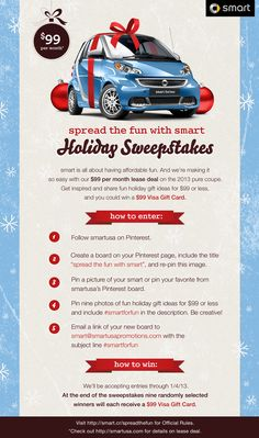 Let's have some holiday fun!! #smartforfun  Official Rules: http://smart.cr/spreadthefun