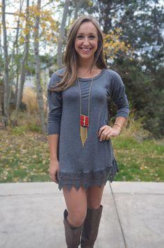 On the Edge Dress - Charcoal