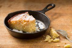 Lemon-inspired skillet lemonade cornmeal cake recipe.
