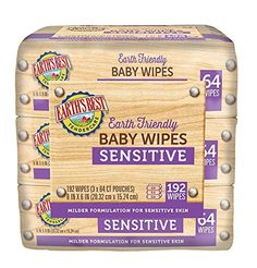 Earth's Best Baby Chlorine-Free Wipes, Sensitive, 192 Count (Pack of 4)