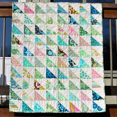 Blue Green Modern Triangle Baby Quilt by 1159 on Etsy, $140.00