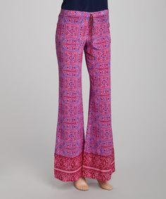 Fuchsia Sunder Silk Crepe Palazzo Pants by Winter Kate on #zulily