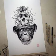 Distinctive fabulous monkey with a skull and brain. Style: Black and Gray. Color: Gray. Tags: Best, Creative, Awesome, Great