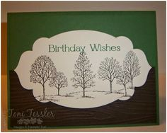 Toni Tessler (tonistamps) Independent Stampin Up Demonstrator.  Lovely as a Tree Four You Garden Green, Early Espresso, Very Vanilla, Woodgrain embossing folder
