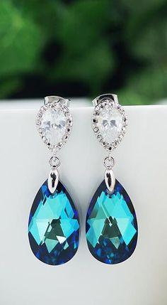 Bermuda Blue Swarovski Crystal Bridal Earrings from EarringsNation Wedding Bridesmaid Gifts #weddingjewelry
