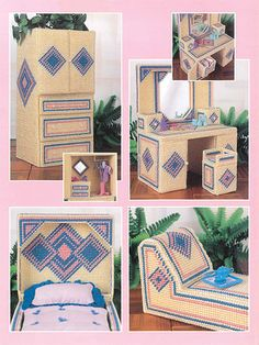 Plastic canvas pattern for a Fashion Doll Contemporary Diamonds Water Bed Suite