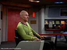 The Star Trek Next Generation crew have travelled back in time and taken over the Enterprise from the original series. Picard in TOS uniform Star Trek Show, Star Wars, United Federation Of Planets, Star Trek Images, Star Trek Characters, Starship Enterprise, Star Trek Universe, Love Stars, Movie Tv