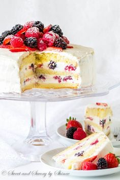 Truly easy and perfect make-ahead cake for all occasions! Light and delicate sponge cake layers loaded with fluffy Chantilly cream frosting and fresh berries.