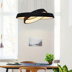 Nowoczesna lampa sufitowa Orbit (podwójne ringi) w kolorzeczarnym matowym, wykonanaw technologii LED na diodach smd, polecana szczególnie do nowoczesnychwnętrzi biura. Kształt lampy można tworzyć za pomocą regulacji linek zasilających. Lampa malowana farbą matową o delikatnej strukturze piaskowej, nie jest to kolor aksamitny. Mocca, Ceiling Lights, Led, Mirror, Lighting, Pendant, Furniture, Home Decor, Decoration Home
