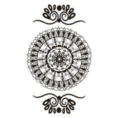 Classic Look Faux Henna Temporary Tattoo Black Mandala
