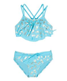 Love this Blue Fish & Gold Foil Pineapple Bikini - Girls on #zulily! #zulilyfinds